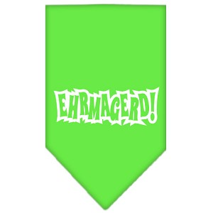 Ehrmagerd Screen Print Bandana Lime Green Small