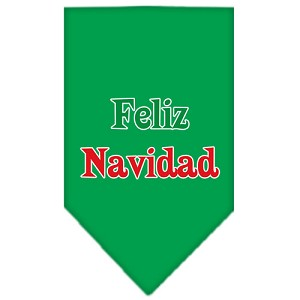 Feliz Navidad Screen Print Bandana Emerald Green Large