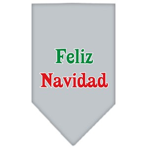 Feliz Navidad Screen Print Bandana Grey Small