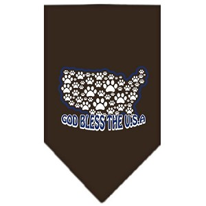 God Bless USA Screen Print Bandana Cocoa Small