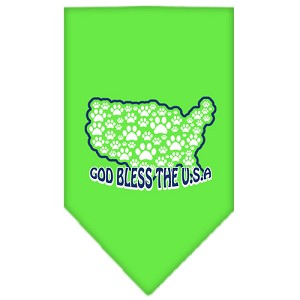 God Bless USA Screen Print Bandana Lime Green Large