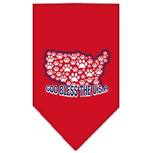 God Bless USA Screen Print Bandana Red Small