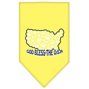 God Bless USA Screen Print Bandana Yellow Large