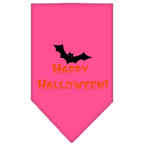 Happy Halloween Screen Print Bandana Bright Pink Small