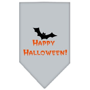 Happy Halloween Screen Print Bandana Grey Small