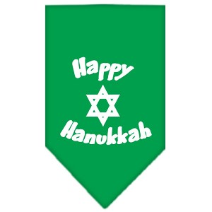 Happy Hanukkah Screen Print Bandana Emerald Green Large
