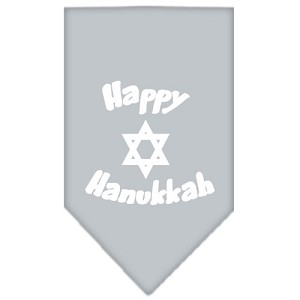 Happy Hanukkah Screen Print Bandana Grey Large