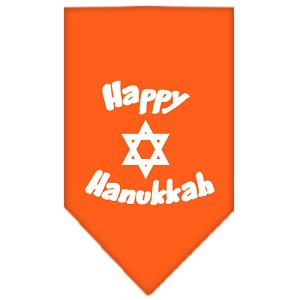 Happy Hanukkah Screen Print Bandana Orange Large