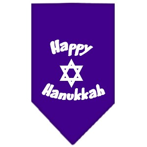 Happy Hanukkah Screen Print Bandana Purple Large