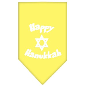 Happy Hanukkah Screen Print Bandana Yellow Large