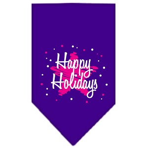 Scribble Happy Holidays Screen Print Bandana Purple Large