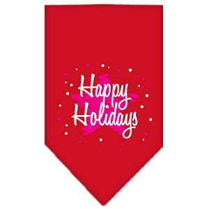 Scribble Happy Holidays Screen Print Bandana Red Large