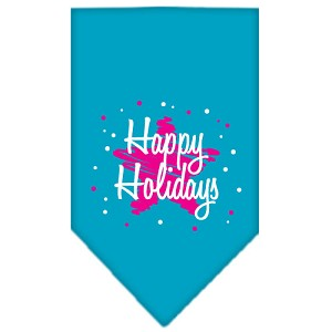 Scribble Happy Holidays Screen Print Bandana Turquoise Small
