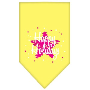 Scribble Happy Holidays Screen Print Bandana Yellow Large
