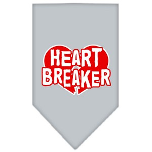 Heart Breaker Screen Print Bandana Grey Small