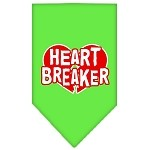 Heart Breaker Screen Print Bandana Lime Green Small