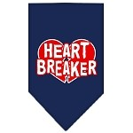 Heart Breaker Screen Print Bandana Navy Blue Small