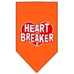 Heart Breaker Screen Print Bandana Orange Small
