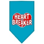 Heart Breaker Screen Print Bandana Turquoise Small