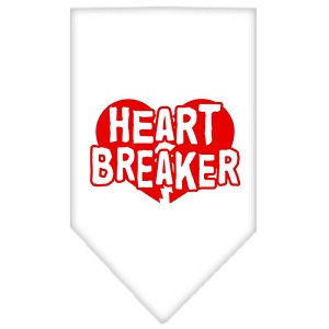 Heart Breaker Screen Print Bandana White Small