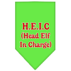 Head elf In Charge Screen Print Bandana Lime Green Large