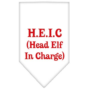 Head Elf In Charge Screen Print Bandana White Small