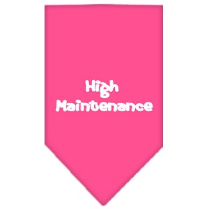 High Maintenance Screen Print Bandana Bright Pink Large
