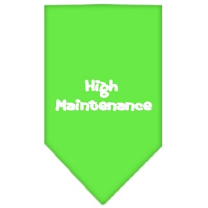 High Maintenance Screen Print Bandana Lime Green Large