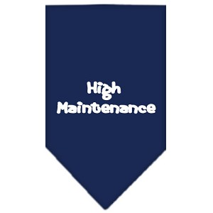High Maintenance Screen Print Bandana Navy Blue Large