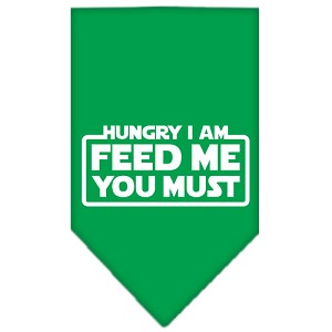 Hungry I Am Screen Print Bandana Emerald Green Large