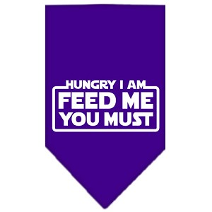Hungry I Am Screen Print Bandana Purple Large