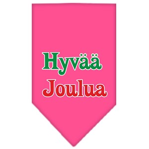 Hyvaa Joulua Screen Print Bandana Bright Pink Large