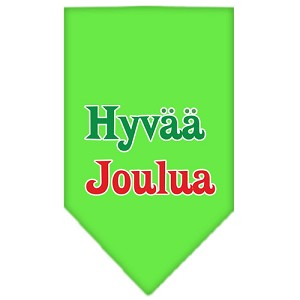 Hyvaa Joulua Screen Print Bandana Lime Green Small