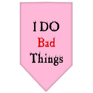I Do Bad Things Screen Print Bandana Light Pink Large