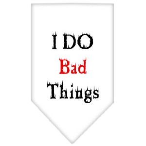 I Do Bad Things Screen Print Bandana White Small
