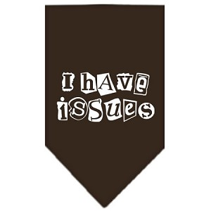 I Have Issues Screen Print Bandana Cocoa Large