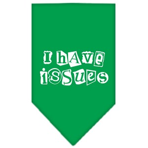 I Have Issues Screen Print Bandana Emerald Green Large