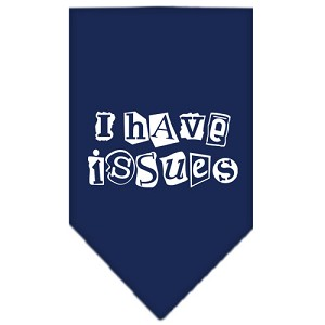 I Have Issues Screen Print Bandana Navy Blue large