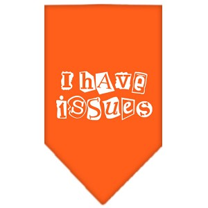 I Have Issues Screen Print Bandana Orange Small