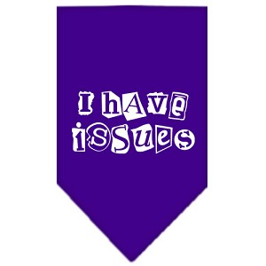 I Have Issues Screen Print Bandana Purple Small