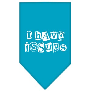 I Have Issues Screen Print Bandana Turquoise Large