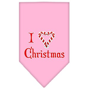 Heart Christmas Screen Print Bandana Light Pink Large