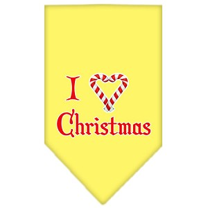 Heart Christmas Screen Print Bandana Yellow Large