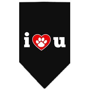 I Love U Screen Print Bandana Black Small