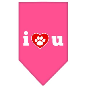 I Love U Screen Print Bandana Bright Pink Small