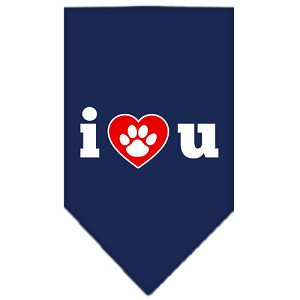 I Love U Screen Print Bandana Navy Blue Small