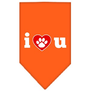 I Love U Screen Print Bandana Orange Small