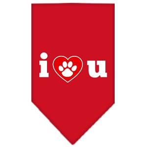 I Love U Screen Print Bandana Red Small
