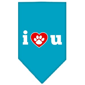 I Love U Screen Print Bandana Turquoise Small