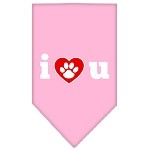I Love U Screen Print Bandana Light Pink Small